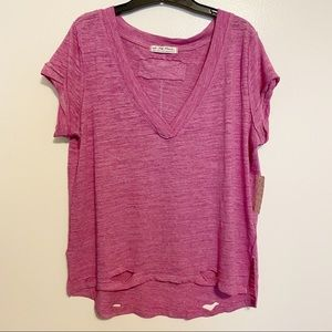 Free People We The Free V-Neck Distressed Knit Tee